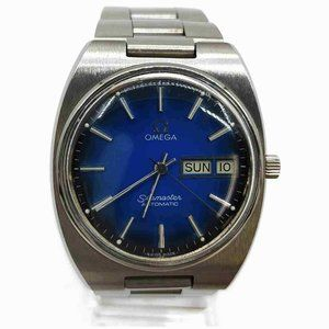 Omega Silver x Blue Seamaster Day Date Watch 86114